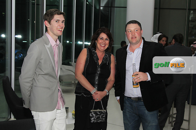 Daniel and Fiona Adams with Chris Doak during the 2015 Abu Dhabi Invitational Gala Evening held at The Viceroy Hotel, Yas Island, Abu Dhabi.: Picture Eoin Clarke, www.golffile.ie: 1/25/2015