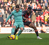 Bournemouth's Jefferson Lerma (right) battles with \Arsenal's Lucas Torreira (left) <br /> <br /> Photographer David Horton/CameraSport<br /> <br /> The Premier League - Bournemouth v Arsenal - Sunday 25th November 2018 - Vitality Stadium - Bournemouth<br /> <br /> World Copyright &copy; 2018 CameraSport. All rights reserved. 43 Linden Ave. Countesthorpe. Leicester. England. LE8 5PG - Tel: +44 (0) 116 277 4147 - admin@camerasport.com - www.camerasport.com