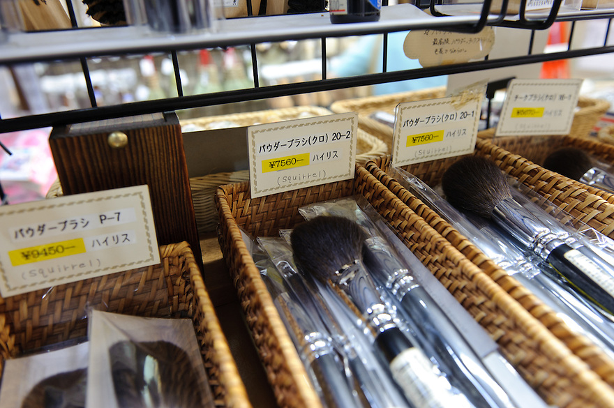Make up brushes on sale in Kanaya brush shop, Asakusa, Tokyo, Japan, August 28, 2011. Sensoji is one of the oldest temples in Tokyo, and the shopping arcades around it have sold visitors souvenirs for centuries.