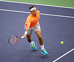 Roger Federer (SUI) during his round of 16 match against Jack Sock (USA). Federer advanced after defeating Sock 63 62 at the BNP Parisbas Open in Indian Wells, CA on March 18, 2015.