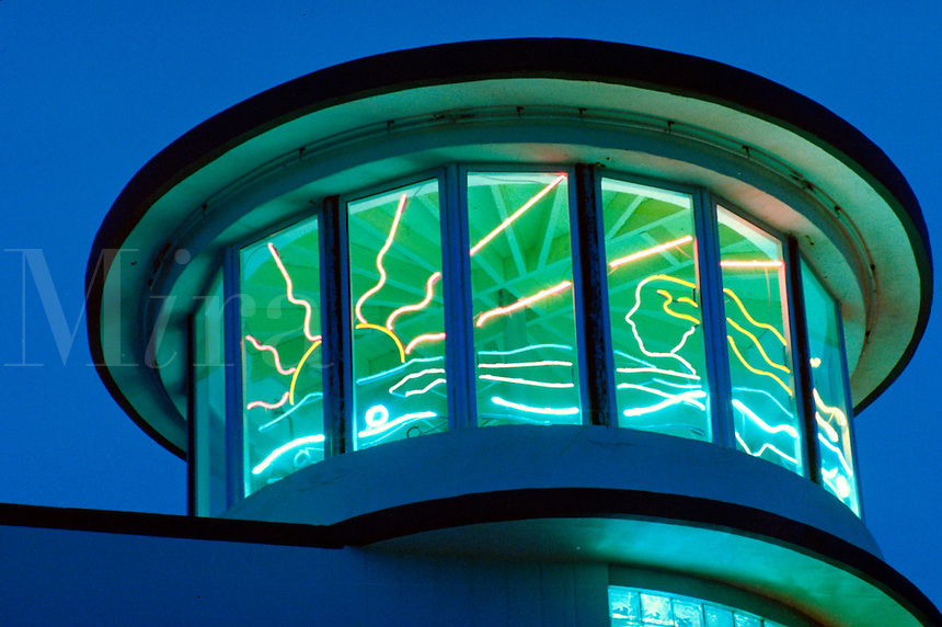 Absolutely neon - few people see because have to look up, up! arch - Albert Anis, 1937. Ocean Drive, Miami Beach FL USA.