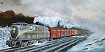 "Pennsylvania Railroad GG1 hauling solid boxcar freight train on the PRR mainline to Harrisburg through winter snow and bitter cold. Oil on canvas, 15"" x 30""."