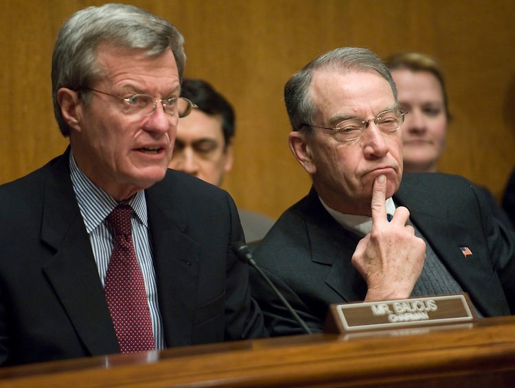 02/06/07--Chairman Max Baucus, D-Mont., and ranking Republican Charles E. Grassley, R-Iowa, during the Senate Finance hearing Treasury Secretary Henry M. Paulson Jr. on the President's fiscal 2008 budget proposal. Congressional Quarterly Photo by Scott J. Ferrell
