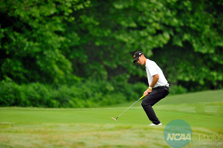 13 MAY 2011:  Tai Lee of Claremont Mudd Scripps reacts after missing a putt during the Division III Men's Golf Championship held at the Grandover Resort in Greensboro, NC.  Lee placed second with a -10 score.  Grant Halverson/NCAA Photos