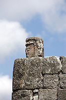 Caryatid with water placed in a hollow (in the head) used for observing the movements of the planets reflected in it, The Astronomical Observatory, called El Caracol (Snail) because of the spiral staircase inside it, Toltec architecture, 900-1100 AD, Chichen Itza, Yucatan, Mexico. Picture by Manuel Cohen