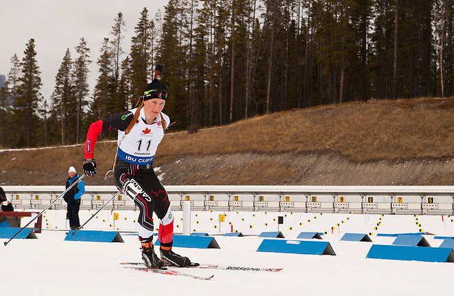 Canadian Scott Gow at the start of The International Biathlon Union Cup #6 Men's 10 KM Sprint held at the Canmore Nordic Center in Canmore Alberta, Canada, on Feb 12, 2012.  Scott finished in 30th position.