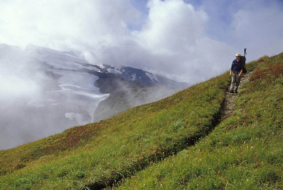 Hiker on Ptarmigan Ridge Trail, North Cascades, Cascade Mountains, Washington