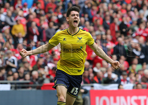 03.04.2016. Wembley Stadium,  London, England. Johnstones Paint Trophy Football Final Barnsley versus  Oxford Utd. Oxford's Callum O'Dowda celebrates his goal in the 29th minute for 0-1