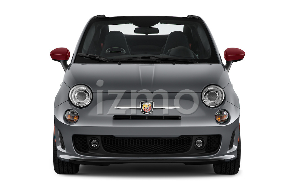 Car photography straight front view of a 2016 Fiat 500c Abarth-Cabrio 2 Door Convertible Front View