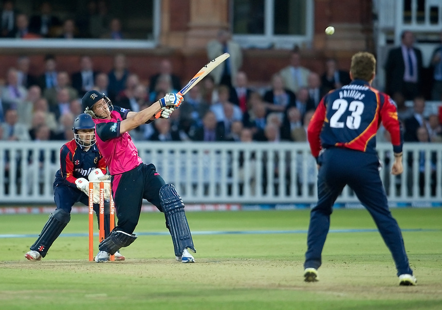 Middlesex Panthers' Joe Denly on his way to an unbeaten half century at Lords against Essex Eagles<br /> <br />  (Photo by Ashley Western/CameraSport) <br /> County Cricket - Friends Life t20 2013 - Middlesex v Essex - Thursday 04th July 2013 - Lord's, London <br /> <br />  &copy; CameraSport - 43 Linden Ave. Countesthorpe. Leicester. England. LE8 5PG - Tel: +44 (0) 116 277 4147 - admin@camerasport.com - www.camerasport.com