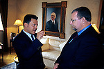 Peter Greenberg interviewing King Abdullah II in the Royal Pallce at Aman, Jordan