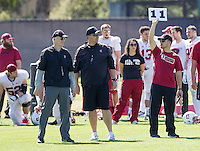 STANFORD, CA - MARCH 7, 2014--Stanford Defensive Line coach Randy Hart,  Special Teams Coordinator, Pete Alamar, and Asst. Director of Football Operations and Recruiting Ryan Devlin,   during Open Football Practices at Stanford University.