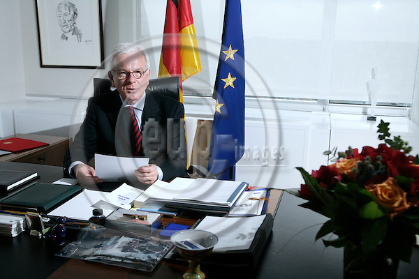 BRUSSELS - BELGIUM - 07 MAY 2007 -- Hans-Gert POETTERING, President of the European Parliament - German MEP (CDU, EPP/ED) and member of the Group of the European People's Party (Christian Democrats) and European Democrats, during an interview in his office. Photo: Erik Luntang/EUP-IMAGES
