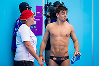 Picture by Alex Whitehead/SWpix.com - 13/04/2018 - Commonwealth Games - Diving - Optus Aquatics Centre, Gold Coast, Australia - Tom Daley (pictured with his coach Jane Figueiredo) and Dan Goodfellow of England win Gold in the Men's Synchronised 10m Platform Final.