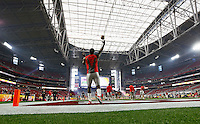 Ohio State Buckeyes quarterback Cardale Jones (12) warms up his arm prior to the Battlefrog Fiesta Bowl against the Notre Dame Fighting Irish at University of Phoenix Stadium in Glendale, Arizona on Jan. 1, 2016. (Adam Cairns / The Columbus Dispatch)