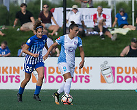 Allston, MA - Saturday August 19, 2017: Angela Salem, Camila Martins Pereira during a regular season National Women's Soccer League (NWSL) match between the Boston Breakers (blue) and the Orlando Pride (white/light blue) at Jordan Field.