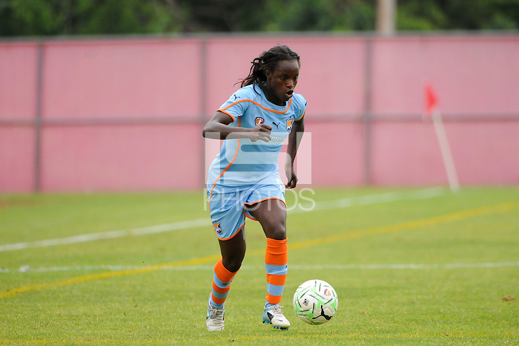 Eniola Aluko (18) of Sky Blue FC. Sky Blue FC and the Boston Breakers played to a 0-0 tie during a Women's Professional Soccer (WPS) match at Yurcak Field in Piscataway, NJ, on June 12, 2011.