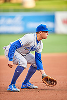 Garin Cecchini (7) of the Omaha Storm Chasers during the game against the Salt Lake Bees in Pacific Coast League action at Smith's Ballpark on May 8, 2017 in Salt Lake City, Utah. Salt Lake defeated Omaha 5-3. (Stephen Smith/Four Seam Images)