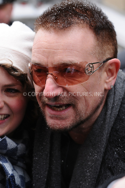 WWW.ACEPIXS.COM . . . . .  ....March 3 2009, New York City....Singer Bono of U2 arriving at the 'Late Show with David Letterman' in midtown Manhattan on March 2 2009 in New York City....Please byline: AJ Sokalner - ACEPIXS.COM..... *** ***..Ace Pictures, Inc:  ..tel: (212) 243 8787..e-mail: info@acepixs.com..web: http://www.acepixs.com
