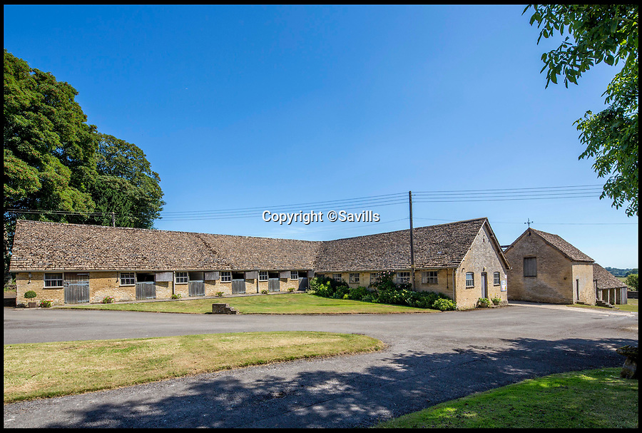 BNPS.co.uk (01202)558833<br /> Pic:   Savills/BNPS<br /> <br /> The stables.<br /> <br /> A 800 year old castle that stands over Prince Charles' Highgrove estate and was left a ruin by the Civil War has gone on the market for £10m.<br /> <br /> Beverston Castle, on the outskirts of Tetbury, Gloucs, is only partly habitable today but has a charming seven bedroom manor house built on to it.<br /> <br /> The historic property, that comes with a huge 693 acres of land, had been owned for 70 years by the late showjumper Major Laurence Rook and his wife Jane.<br /> <br /> The couple were famed for the hospitality they laid on to visitors of the week-long Badminton Horse Trials which is nearby.