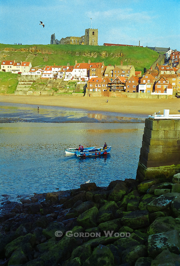 Whitby Harbour with St. Mary's Church & the Abbey_Watercolour effect