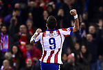 Mario Mandzucik celebrates goal during the UEFA Champions League semifinal first leg football match Club Atletico de Madrid vs Olympiacos at the Vicente Calderon stadium in Madrid on November 26, 2014.   PHOTOCALL3000/ DP