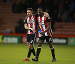 George Baldock of Sheffield Utd and Clayton Donaldson of Sheffield Utd  during the Championship match at Bramall Lane Stadium, Sheffield. Picture date 26th December 2017. Picture credit should read: Simon Bellis/Sportimage