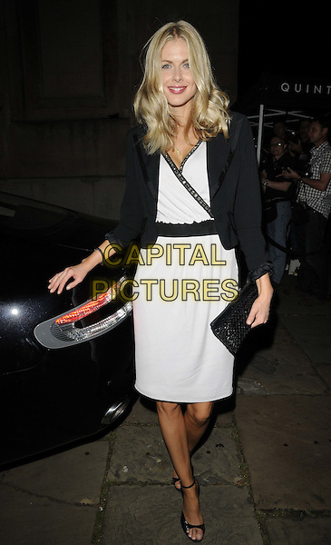 Donna Air.Quintessentially Awards held at One Marylebone - Arrivals, London, England..28th September 2011.full length white grey gray sleeveless trim dress clutch bag blazer .CAP/CAN.©Can Nguyen/Capital Pictures.