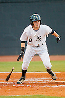 Jordan Keegan #28 of the Bristol White Sox follows through on his swing against the Greeneville Astros at Boyce Cox Field July 1, 2010, in Bristol, Tennessee.  Photo by Brian Westerholt / Four Seam Images