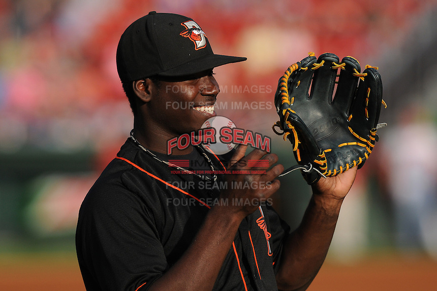 Outfielder Roderick Bernadina (11) of the Delmarva Shorebirds before in a game against the Greenville Drive on Friday, April 26, 2013, at Fluor Field at the West End in Greenville, South Carolina. Delmarva won, 10-3. (Tom Priddy/Four Seam Images)
