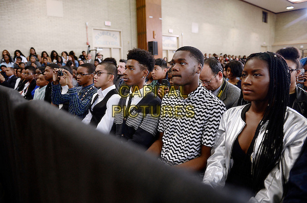 Students from Benjamin Banneker Academic High School listen as United States President Barack Obama speaks during an event to highlight the progress that has been made over the last eight years by the Obama Administration to improve education across the country on October 17, 2016 in Washington, DC.<br /> <br /> CAP/MPI/ Pool/ CNP/OD<br /> &copy;OD/CNP/Pool/MPI/Capital Pictures