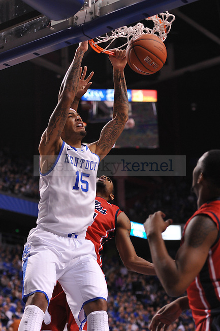 UK forward Willie Cauley-Stein (15) dunks the ball during the first half of the UK men's basketball team vs Ole Miss at Rupp Arena in Lexington, Ky., on Tuesday, February 4, 2014.  Photo by Eleanor Hasken | Staff
