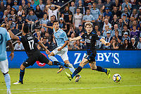 Kansas City, KS - Wednesday August 9, 2017: Daniel Salloi, Florian Jungwirth during a Lamar Hunt U.S. Open Cup Semifinal match between Sporting Kansas City and the San Jose Earthquakes at Children's Mercy Park.
