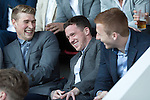 St Johnstone Player of the Year Awards 2014-15.....16.05.15<br /> David Wotherspoon has a a laugh at Danny Swanson as Chris Millar uses one of his acceptance speeches to tell the supporters what a pest Danny is in the dressing room and that he personally won't miss him!!<br /> Picture by Graeme Hart.<br /> Copyright Perthshire Picture Agency<br /> Tel: 01738 623350  Mobile: 07990 594431