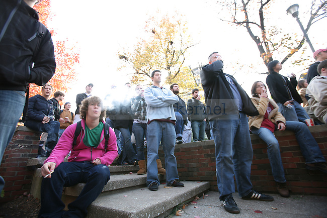 UK students listen to speakers talk about the newly implemented tobacco ban at the student center patio on Thursday, Nov. 19, 2009. Photo by Adam Wolffbrandt   Staff