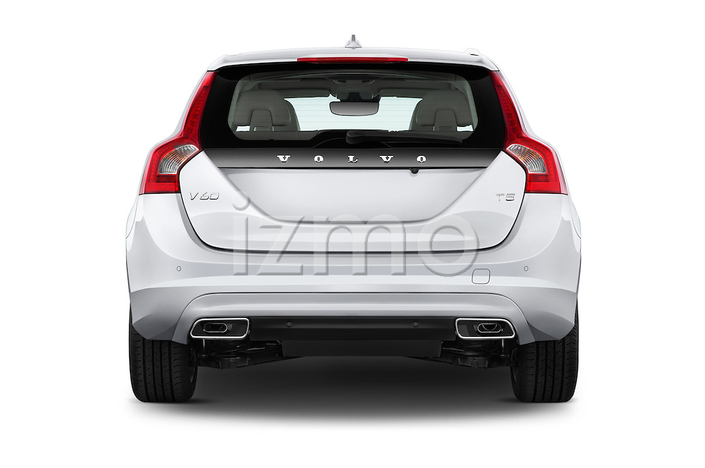 Straight rear view of 2015 Volvo V60 Xenium T5 Drive-E FWD 5 Door Wagon Rear View  stock images
