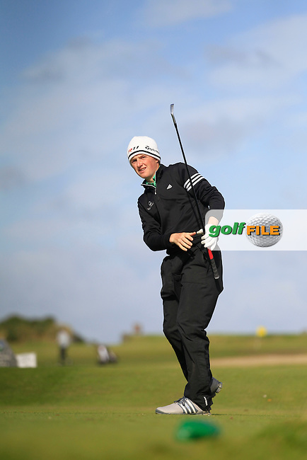 Ronan Mullarney (Galway) on the 7th tee during Round 3 of the Irish Youths Amateur Close Championship in Ardglass Golf Club on Friday 29th August 2014.<br /> Picture:  Thos Caffrey / www.golffile.ie