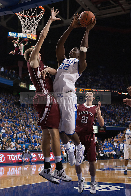 Freshman forward, Alex Poythress, dunking the ball during the first half of the UK vs. Lafaytte basketball game at Rupp Arena  on Friday, Nov. 16, 2012. Photo by Adam Chaffins | Staff