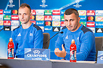 FK Qarabag Ansi Agolli and coach Gurban Gurbanov during press conference day before UEFA Champions League match between FK Qarabag and Atletico de Madrid at Wanda Metropolitano in Madrid, Spain. October 30, 2017. (ALTERPHOTOS/Borja B.Hojas)