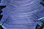Winter Nighttime Sky Over New Jersey. Composite star trail image (19:09 - 23:09) taken with a Nikon D850 camera and 8-15 mm fisheye lens (ISO 800, 15 mm, f/8, 30 sec). Raw images processed with Capture One Pro and the composite created with Photoshop CC (statistics, maximum).