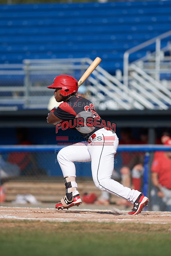 Batavia Muckdogs left fielder Terry Bennett (33) during the second game of a doubleheader against the Williamsport Crosscutters on August 20, 2017 at Dwyer Stadium in Batavia, New York.  Batavia defeated Williamsport 4-3.  (Mike Janes/Four Seam Images)