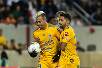 HARRISON, NJ - MARCH 11: Andre Gignac #10 talks with Eduardo Vargas #9 of Tigres UANL during a game between Tigres UANL and NYCFC at Red Bull Arena on March 11, 2020 in Harrison, New Jersey.
