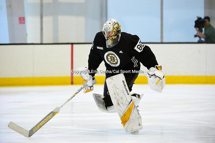 June 26, 2018: Boston Bruins goalie Dan Vladar (80) skates during the Boston Bruins development camp held at Warrior Ice Arena in Brighton Mass. Eric Canha/CSM