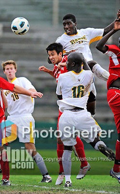 12 October 2011: University of Vermont Catamount Forward D.J. Edler (17), a Junior from Atlanta, GA, in action against the Boston University Terriers at Centennial Field in Burlington, Vermont. The Catamounts were edged out 1-0 by the visiting Terriers. Mandatory Credit: Ed Wolfstein Photo