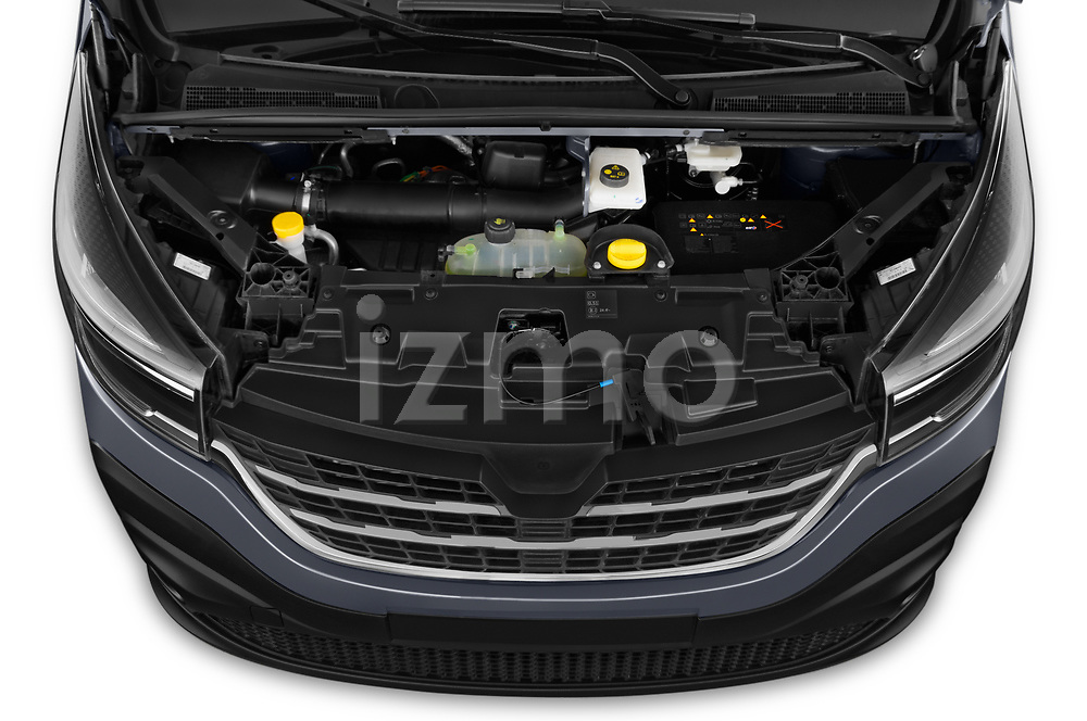 Car stock 2020 Renault Trafic Grand-Confort 4 Door Cargo Van engine high angle detail view