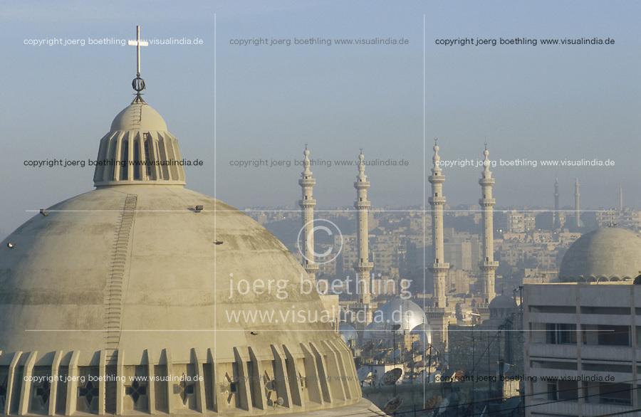 SYRIA Aleppo, christian  cathedral, background  mosque of Aleppo / SYRIEN Aleppo , christliche Kathedrale, im Hintergrund Moschee von Aleppo
