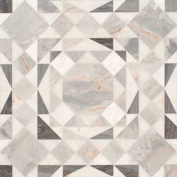 Bismarck, a hand-cut stone mosaic, shown in polished Cloud Nine and honed Argent Blue, is part of the Bright Young Things™ collection by New Ravenna.