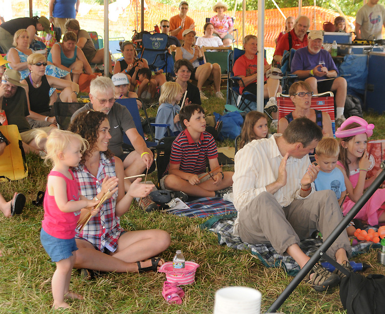 The audience responding to a performance at the Family Stage at the Falcon Ridge Folk Festival, held on Dodd's Farm in Hillsdale, NY on Saturday, August 1, 2015. Photo by Jim Peppler. Copyright Jim Peppler 2015.