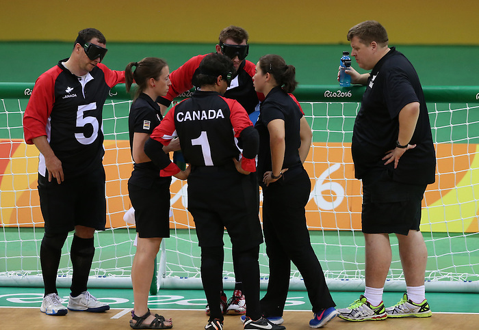 Rio de Janeiro-13/9/2016- Canadian men play Sweden in goal ball at the Future Arena during the 2016 Paralympic Games in Rio. Photo Scott Grant/Canadian Paralympic Committee