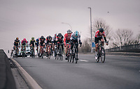Tiesj Benoot (BEL/Lotto-Soudal) leadingh the way in pursuit of race leader Terpstra<br /> <br /> 61th E3 Harelbeke (1.UWT)<br /> Harelbeke - Harelbeke (206km)